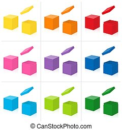 Gift Boxes Open Closed Cover Colored Set