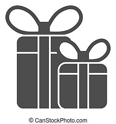 Gift boxes solid icon. Two presents with bow vector illustration isolated on white. Holiday package glyph style design, designed for web and app. Eps 10.