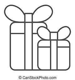 Gift boxes thin line icon. Two presents with bow vector illustration isolated on white. Holiday package outline style design, designed for web and app. Eps 10.