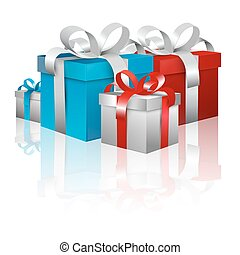 Gift Boxes - Vector 3D Blue and Red Gift Box Set Isolated on White Background