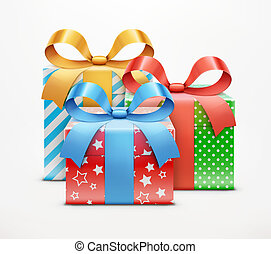 gift boxes - Vector illustration of three color present ...
