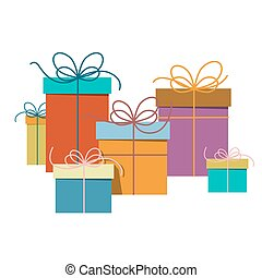 Gift Boxes. Vector Present Box Flat Design Illustration Isolated on White Background.