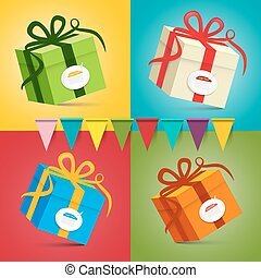 Gift Boxes - Vector Present Box Set on Colorful Retro Background with Flags