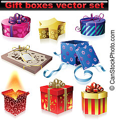 Gift boxes - Vector set of colorful gift boxes with ribbons ...