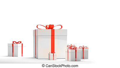 gift boxes with bow 3d rendering