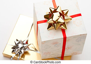 Gift boxes with bow on a white background