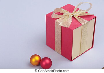 Gift boxes with bow on gray background