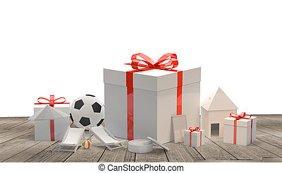 gift boxes with bow with a soccer ball a phone a skin cream a house and sun deck chairs 3d rendering