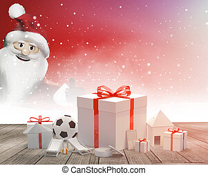 gift boxes with bow with Santa claus 3d rendering