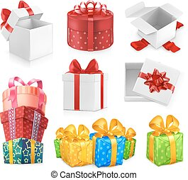 Gift boxes with bows. 3d vector icon set