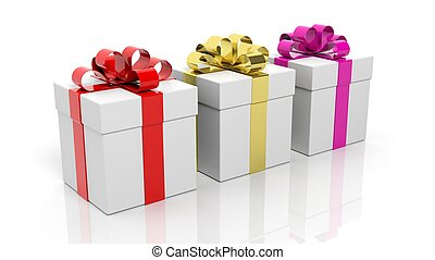 Gift boxes with colorful ribbons isolated on white background