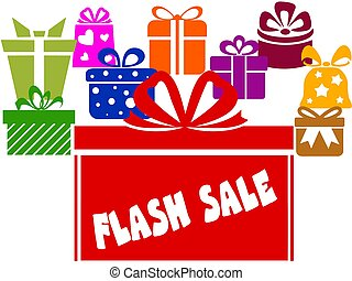 Gift boxes with FLASH SALE text. Illustration image concept