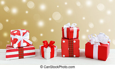 Gift boxes with gold background