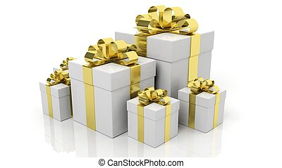 Gift boxes with golden ribbons in various sizes isolated on white background