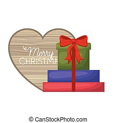 gift boxes with heart of wooden icon