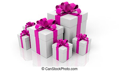 Gift boxes with pink ribbons in various sizes isolated on white background
