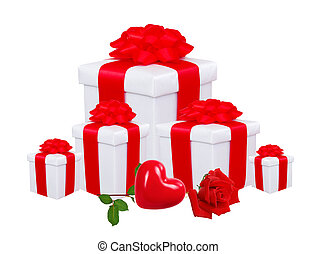 gift boxes with red bow and red rose isolated on white