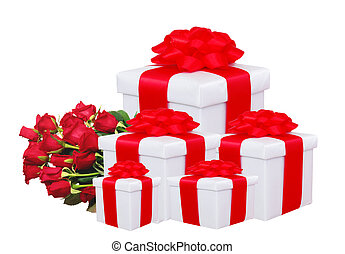 gift boxes with red bow and red roses isolated on white