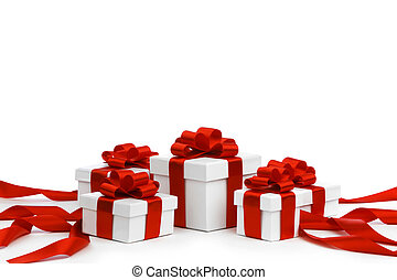 Gift boxes with red bow