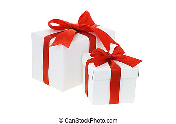 Gift boxes with red bow ribbons