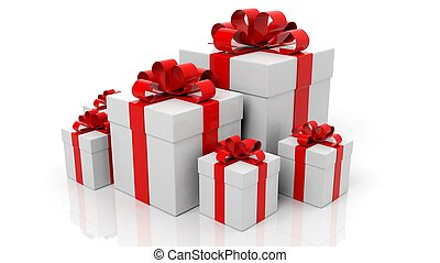 Gift boxes with red ribbons in various sizes isolated on white background