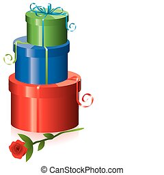 gift boxes with rose
