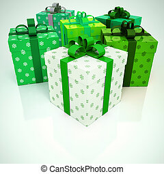 Gift boxes with snowflakes in green