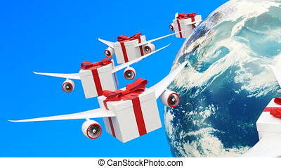 Gift boxes with wings flying in the sky around Earth globe. Global gift delivery concept, 3D rendering