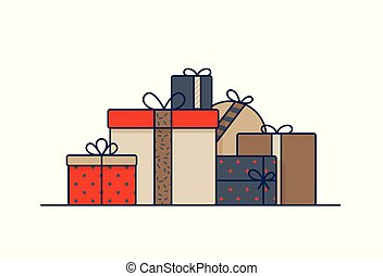 Gift boxes wrapped in wrapping paper and decorated with ribbons and bows. Stack of packed birthday presents isolated on white background. Colored vector illustration in trendy line art style.