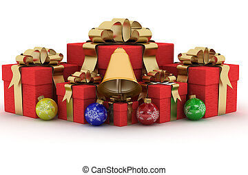 Gift boxs on white background. 3D image.