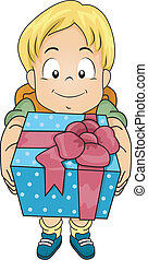 Gift Boy - Illustration of a Boy Holding a Gift in a ...