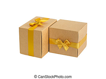 Gift brown box with gold bow on white background