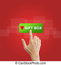 gift button with real hand on red background