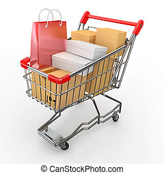 Gift buying. Shopping cart full of boxes. 3d