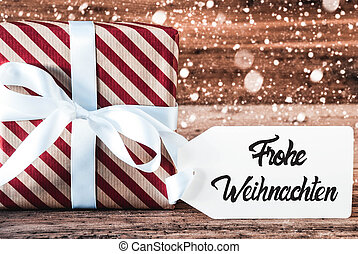 Gift, Calligraphy Frohe Weihnachten Means Merry Christmas, Snowflakes