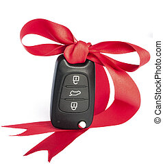 Gift car concept with red Bow and space for text - Gift key...