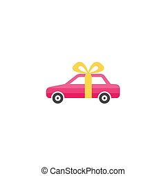 Gift car icon in flat style isolated on white background