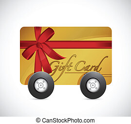 gift card and wheels. illustration design