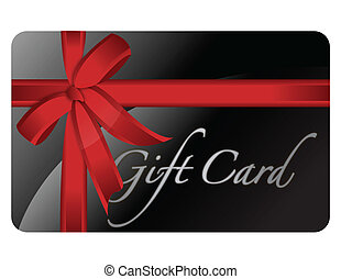 Black gift card with a red ribbon isolated over a white background.