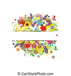 Gift card design with summer floral bouquet