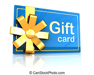 gift card - 3d illustration of platic gift card with golden...