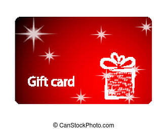 Gift card - Christmas illustration with gift box on red...