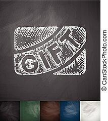 gift card icon. Hand drawn vector illustration