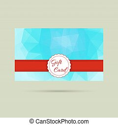 Gift card with a round badge and red ribbon. vector....