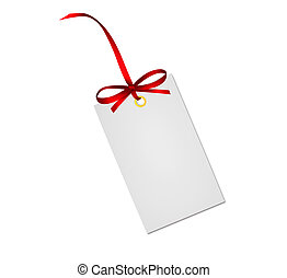 Gift card note with red ribbon bow isolated on white ...