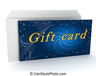 Gift card over white background. 3d rendered image