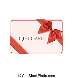 Gift card template with red ribbon and a bow. Vector illustration