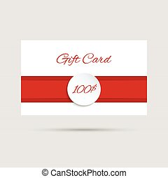 Gift card with a round badge and red ribbon. vector