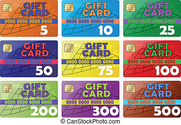 gift card - set gift card color icons