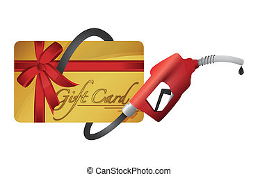 gift card with a gas pump nozzle illustration design over a...